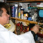 "AUDIOPHILE PREFERS VINTAGE: Rey Havana of Orange County, a certified audiophile, monitors the oscilloscope for his ""vacuum tube"" amplifiers in his garage. After 20 of restoring sound equipment as a happy, he is just more than happy to have more time for his passion now that he is retired as a medical equipment maintenance"