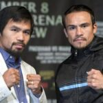 Filipino boxer Manny Pacquiao (L) and Juan Manuel Marquez of Mexico pose during a news conference at the MGM Grand in Las Vegas, Nevada December 5, 2012. Pacquiao and Marquez will fight for a fourth time in a welterweight bout at the MGM Grand Garden Arena on December 8. (MNS photo)
