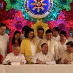 President Benigno S. Aquino III signs into law Republic Act 10352, the Php2.006-trillion General Appropriations Act (GAA) for Fiscal Year 2013 in a ceremony at the Rizal Hall, Malacañan Palace on Wednesday (December 19, 2012). Witnessing the ceremony are (seated from left) Executive Secretary Paquito Ochoa, Jr., Majority Leader Neptali Gonzales II, Committee on Appropriations chairperson Representative Jocelyn Limkaichong, Speaker Feliciano Belmonte, Jr., Committee on Finance chairman Senator Franklin Drilon, Senator Edgardo Angara and Deputy Speaker Pablo Garcia. (At the back) Representatives Mel Senen Sarmiento, Fernando Gonzalez, Josefina Joson, Anna York Bondoc, Pangalian Balindong, Isidro Ungab, Maria Zenaida Angping, Joaquin Carlos Rahman Nava, Thelma Almario and Dakila Carlo Cua.  (MNS photo)