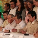 President Benigno S. Aquino III signs into law Republic Act No. 10349 or the New AFP Modernization Act at the Rizal Hall of the Malacañan Palace on Tuesday (December 11). The Revised AFP Modernization Act provides Php75-billion for the first five years to boost the AFP's capability upgrade program as it shifts from internal to external defense capability and institutionalizes the Defense System of Management (DSOM). (MNS Photo)