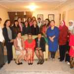 Photo shows(seated from right to left) Consul General De La Vega with Mme Ramlah Haid Nekmat and Mme. Parichart Katavetin and other members of AWCLA (standing)