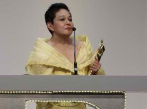 Actress Nora Aunor of the Philippines speaks after receiving the Best Actress award at the Asian Film Awards in Hong Kong March 18, 2013. (MNS photo)