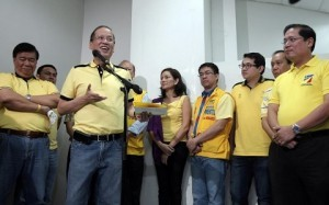 "President Benigno S. Aquino III answers questions directed to him during the media briefing after leading the Ceremonial Groundbreaking of the Jalaur River Multi-Purpose Project (JRMP) II at the Iloilo Provincial Capitol in Bonifacio Drive, Iloilo City on Thursday (February 21, 2013). The Php11.21 billion JRMP II is a priority irrigation project of the Department of Agriculture (DA) designed to significantly contribute to sustaining the country's rice self-sufficiency level. Once completed, the irrigation component of the JRMP II will provide year-round irrigation to approximately 32,000 hectares of farm land and benefit more than 783,000 farmers in Iloilo. The JRMP features the construction of three dams – Jalaur Reservoir, Jalaur Afterbay and Alibunan Catch Dam, considered as the first large scale reservoir dam outside Luzon. In photo are Senator Franklin Drilon, Team PNoy Senatoriables former Senator Ramon Magsaysay, Jr., former Akbayan Partylist Representative Ana Theresia ""Risa"" Hontiveros-Baraquel, Senator Aquilino Martin ""Koko"" Pimentel III and former National Youth Commission (NYC) chairperson Paolo Benigno ""Bam"" Aquino IV, Iloilo Governor Arthur Defensor, Sr. and Iloilo 3rd District Representative Arthur Defensor, Jr. (Photo by: Robert Viñas / Malacañang Photo Bureau)."