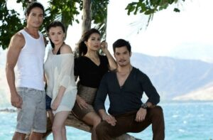 "Just a little over a month since it aired, ABS-CBN 's ""Apoy Sa Dagat"" sizzles in national and rural ratings.  From left, Piolo Pascual, Angelica Panganiban, Angel Aquino and Diether Ocampo. It is shown worldwide  only on TFC. (ABS-CBN)"