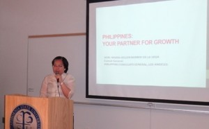 "Consul General Barber De La Vega speaking on the ""Philippines: Your Partner for Growth"" to participants of the Southeast Asia Trade Connect Workshop"