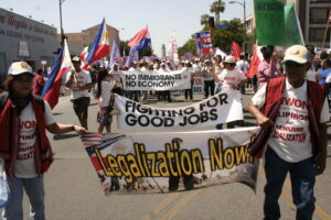 Filipino-Americans from the Pilipino Workers Center and thousands of other residents march through 7th Street during the massive May 1, 2008 rally on their way to downtown Los Angeles. Calls for an immigration reform have been widespread years ago, but if current moves in Congress progresses, a bill may be introduced next month. (Balita file photo)