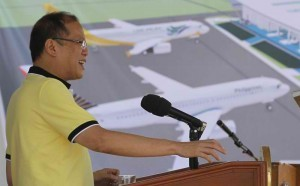 "President Benigno S. Aquino III delivers his speech during the ceremonial groundbreaking of the Roxas City Airport Development Project at the Roxas City Airport in Capiz on Wednesday (April 10). The project aims to shore up the government's goal to have at least 10 million tourists in 2016, and in recognition of Roxas City as the country's ""seafood capital"" where an increasing number of local and foreign tourists are expected to visit. (MNS photo)"