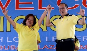 President Benigno S. Aquino III endorses the Liberal Party (LP) candidates for the May 13, 2013 midterm election from Capiz Province, headed by Capiz 2nd District Congressional candidate Mary Andaya, during the Meeting with Local Leaders and the Community at the Mambusao Public Plaza in Mambusao, Capiz on Wednesday (April 10, 2013). LP was founded on January 19, 1946 by Manuel Roxas, the first President of the Third Philippine Republic. (Photo by: Benhur Arcayan / Malacañang Photo Bureau).