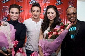"""The Voice of the Philippines"" coaches (from left) Lea Salonga, Bamboo Mañalac, Sarah Geronimo and Allan Pineda. (MNS photo)"