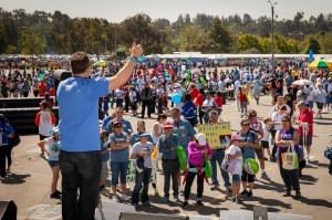 Autism Speaks Executive Director for Southern California Matt Asner addresses the crowd during Los Angeles Walk Now for Autism Speaks on Saturday, April 20, 2013 at the Rose Bowl in Pasadena. The 2013 LA Autism Walk hosted 40,000 attendees, raised over $1.8M for autism and is the largest autism walk in  the country. Photo by Efong Chiu