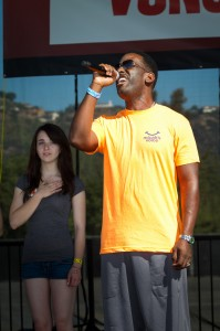 Singer Shawn Stockman, well known as a member of Boyz II Men, singing the national anthem at Los Angeles Walk Now for Autism Speaks on Saturday, April 20, 2013 at the Rose Bowl in Pasadena. The 2013 LA Autism Walk hosted 40,000 attendees, raised over $1.8M for autism and is the largest autism walk in the country. Photo by Efong Chiu
