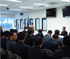 Photo above shows Consul General Maria Hellen Barber De La Vega addressing participants of PNP-PSOSEC Class 2012-82 and 83.