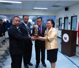 Photo above shows (2nd from L) PC Superintendent Dominador E. Aquino, Jr. presenting a souvenir statue of Lapu-Lapu considered by the PNP as the first Police Warrior to Consul General Maria Hellen Barber De La Vega.