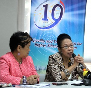 Chairperson Patricia B. Licuanan (right) of the Commission on Higher Education discusses during a news conference Wednesday at the CHED Office in Quezon City the Students' Grants-in-aid Program for Poverty Alleviation, a most exciting part of the government's student assistance program as it directly benefits students of the poorest families. The SGP-PA, with an allocation of P500M, is administered by CHED for State Universities and Colleges in support of the reform agenda for public higher education. Also in photo is Social Welfare Secretary Corazon J. Soliman.  (MNS photo)