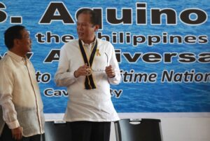 President Benigno S. Aquino III converses with Vice President Jejomar Binay during the 115th Anniversary of the Philippine Navy at the Commodore Posadas Wharf, Headquarters, Naval Sea Systems Command in Naval Station Pascual Ledesma, Fort San Felipe, Cavite City on Tuesday (May 21). At present, the Philippine Navy is a force of 26,000 personnel composed of sailors, marines and civilian employees. (MNS photo)