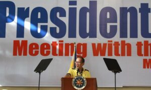 "President Benigno S. Aquino III delivers his message during the meeting with the local leaders and the community at the Misamis University Gymnasium in Ozamiz City, Misamis Occidental on Saturday (April 27). Also in photo are candidates of the Team PNoy that include Aurora Lone District Representative Juan Edgardo ""Sonny"" Angara, former National Youth Commission (NYC) chairperson Paolo Benigno ""Bam"" Aquino IV, former Akbayan Partylist Representative Ana Theresia ""Risa"" Hontiveros-Baraquel, Senators Alan Peter ""Compañero"" Cayetano and Francis Joseph ""Chiz"" Escudero, former Movie and Television Review and Classification Board (MTRCB) chairperson Mary Grace Poe-Llamanzares, Senator Loren Legarda, former Senators Maria Ana Consuelo ""Jamby"" Madrigal and Ramon Magsaysay, Jr., Senators Aquilino Martin ""Koko"" Pimentel III and Antonio ""Sonny"" Trillanes IV, and former Las Piñas Representative Cynthia Villar. (MNS photo)"