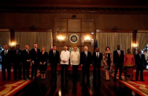 President Benigno S. Aquino III welcomes the non-resident Ambassadors from Different countries during their Presentation of Credentials held at the Rizal Hall of the Malacañan Palace on Monday (June 10) in photo is Department Of Foreign Affairs Secretary Albert Del Rosario. (MNS photo)