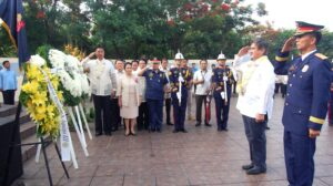 Senator Gregorio B. Honasan and Chief Supt. Miguel DM Laurel, Eastern Police District Director (EPD), salute during the flag-raising ceremony at Pinaglabanan Shrine. Honasan and San Juan Mayor Guia G. Gomez led today's (June 12, 2013) 115th Independence Day rites in San Juan City. (MNS photo)