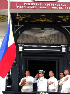 "Senator Franklin M. Drilon (left) leads the flag raising ceremony at the Emilio Aguinaldo Shrine in Kawit, Cavite during the 115th Philippine Independence Day celebration on Wednesday (June 12, 2013). The first declaration of Philippine Independence occurred on June 12, 1898 in Cavite el Viejo (now Kawit), Cavite, some 30 kilometers south of Manila. This year's celebration is themed ""Kalayaan 2013: Ambagan Tungo sa Malawakang Kaunlaran."" Also in photo from right Cavite Governor Juanito Victor C. Remulla Jr.; Laguna Governor Emilio Ramon P. Ejercito; Department of Transportation Secretary Joseph Emilio A. Abaya and other government officials.(MNS photo)"