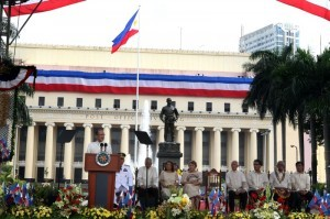 President Benigno S. Aquino III leads the 115th Philippine Independence Day celebration at Liwasang Bonifacio Wednesday morning, (June 12). In his speech, the President is determined to continue, in a peaceful way, to fight for the protection of the country's sovereignty. (MNS photo)