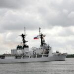 ON WAY HOME. The BRP Ramon Alcaraz (PF16), the newest vessel of the Philippine Navy, leaves the Federal Law Enforcement Training Center in Charleston, South Carolina, following simple ceremonies attended by members of the Filipino Community on Monday, 10 June 2013. (Philippine Embassy Photos by Elmer G. Cato)