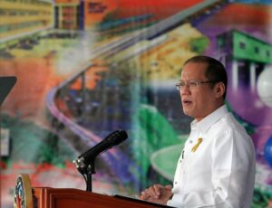 "President Benigno S. Aquino III delivers his message during the 115th Anniversary of the Department of Public Works and Highways (DPWH) at the DPWH Quadrangle, Central Office in Bonifacio Drive Port Area, Manila City on Thursday (June 20, 2013). This year's theme: ""Sa DPWH, Bawat Isa, Tulay sa Pagbabago"". DPWH is mandated to undertake the planning of infrastructure, such as national roads and bridges, flood control, water resources projects and other public works, and the design, construction, and maintenance of national roads and bridges, and major flood control systems. (MNS photo)"