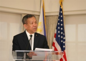 Trade and Industry Secretary Gregory Domingo delivers his remarks during the Independence Day Reception of the Philippine Embassy at the Hay Adams Hotel in Washington, D.C. on Wednesday (Philippine Embassy Photo by Elmer G. Cato)