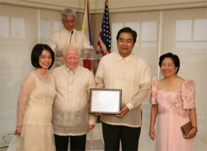 Ambassador and Mrs. Jose L. Cuisia Jr. and Dr. and Mrs. Gabriel Esteban pose after Dr. Esteban received an award of recognition for being selected President of Seton Hall University, the largest Catholic university in New Jersey, during the Independence Day Reception at the Hay Adams Hotel in Washington, D.C. (Philippine Embassy Photo by Elmer G. Cato)