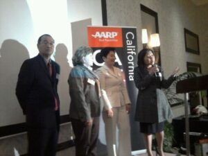 Guest speakers during the AARP Asian-American Media Luncheon at the Hilton San Gabriel on May 14, 2013: Ron Mori, Katie Hirningm Lily Liu and Jean Setzfand.
