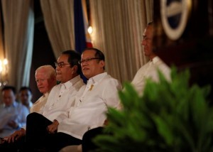 President Benigno S. Aquino III receives the participants to the 8th Ambassadors, Consuls General, and Tourism Directors' Tour (ACGTDT) during their courtesy call at the Rizal Hall of the Malacañan Palace on Thursday (July 11). The ACGTDT, an annual project of Philippine Foreign Service Posts in the United States (US) and Canada, offers a unique opportunity for participants from these two countries to visit the Philippines and experience its rich culture and heritage as they tour various destinations and take part in different activities. In photo are Philippine Ambassador to the United States His Excellency Jose Cuisia, Jr., Tourism Secretary Ramon Jimenez, Jr., and Philippine Ambassador to Canada His Excellency Leslie Gatan. (MNS photo)