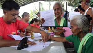 Lucina Donato-Aquino (right), a 68-year old land reform beneficiary in the sprawling Hacienda Luisita in Tarlac affixes her thumbmark as her signature on the Application to Purchase and Farmer's Undertaking form after receiving her Lot Allocation Certificate (inset). She is among the first batch of 645 qualified beneficiaries to receive lot allocations on Thursday (July 18, 2013) in Barangay Cutcut, Tarlac. (MNS photo)