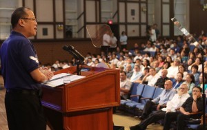"President Benigno S. Aquino III delivers his speech during the Ignatian Festival 2013 at the Henry Lee Irwin Theater, Ateneo De Manila University (ADMU) in Katipunan Avenue, Loyola Heights, Quezon City on Saturday (July 20, 2013). With theme: ""Lahing Loyola para sa Kapwa"". The Ignatian Festival aims to gather alumni, friend, students, faculty and staff of the Ateneo to commemorate the annual Feast of St. Ignatius de Loyola (July 31), the founder of Jesuits. (MNS Photo)."