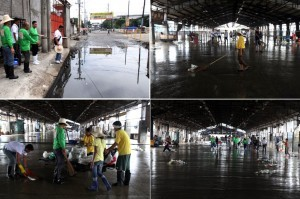 Officers of the Philippine Fisheries Development Authority (PFDA) led by general manager Eduardo Chu launch its monthly Manila Bay port clean-up campaign on Monday (July 29, 2013) at the Navotas Fish Port complex in Navotas City. (MNS photo)