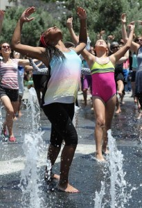 "Thousands danced together in the fountain for National Dance Day at downtown Los Angeles' Grand Park, home to the West coast's flagship celebration.  Park visitors joined ""So You Think You Can Dance's"" Nigel Lythgoe, Adam Shankman, Napoleon and Tabitha Dumo and other popular dance celebrities as part of a nationwide grassroots initiative that promotes the joy and benefits of dance for everyone. 7/27/2013Los Angeles California, photos courtesy The Music Center"