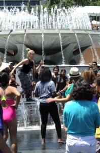 "Adam Shankman, of ""So You Think You Can Dance"" leads students from the DEA Youth Dance Program during National Dance Day at downtown Los Angeles' Grand Park, home to the West coast's flagship celebration.  Park visitors joined ""So You Think You Can Dance's"" Nigel Lythgoe, Adam Shankman, Napoleon and Tabitha Dumo and other popular dance celebrities as part of a nationwide grassroots initiative that promotes the joy and benefits of dance for everyone. 7/27/2013Los Angeles California, photos courtesy The Music Center"