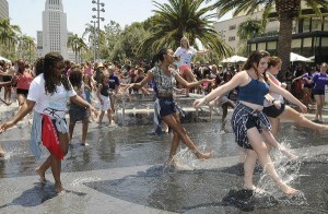 "Dancers splash in the fountain at National Dance Day celebration at downtown Los Angeles' Grand Park. Park visitors joined ""So You Think You Can Dance's"" Nigel Lythgoe, Adam Shankman, Napoleon and Tabitha Dumo and other popular dance celebrities as part of a nationwide grassroots initiative that promotes the joy and benefits of dance for everyone. 7/27/2013Los Angeles California, photos courtesy The Music Center"