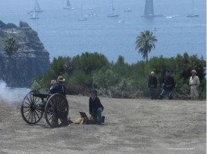 Photo above shows re-enactment of Spanish-American War in Cuba.