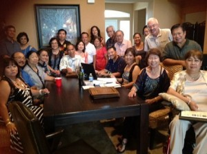 Above photo was taken at recent Marinduque Assn. of Southern California (MASC) meeting hosted by Willie and Fe Ignacio Leano in their Beaumont, California home to finalize preparations for Marinduque International Inc. 20th Anniversary Grand Reunion hosted by MASC from August 14-18th at Hilton Anaheim.   Seated L-R :  Fe and Willie Leano, Paz Sulit, Tita Ricohermoso Watkins, Mike and Mila Miciano, Joe and Albine (President) Lansangan- Blanche, Agnes Lardizabal Apeles and Linda Ponio.  Standing L-R:   Rusty Quindoza, Clarissa and Adel Aquino, Tony and Linda Permejo, Dahlia Mondonedo, Flo Apeles, Hector Sulit, Diana Lansangan Gonzales, Mila Lardizabal , Paul Watkins and Rey Ponio.