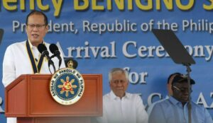 President Benigno S. Aquino III delivers his message during the arrival ceremony of BRP Ramon Alcaraz (PF16) at the Alava Pier, Subic Freeport Zone in Olongapo City, Zambales on Tuesday (August 06, 2013). The acquisition of BRP Alcaraz maintains the momentum of the AFP Modernization Program. Providing an avenue for capacity-building of Philippine Navy personnel en route to future acquisition of modern naval equipment and hardware, PF16 serves as a laboratory for maritime security training that will benefit the Filipino people in many contingencies.  (MNS photo)