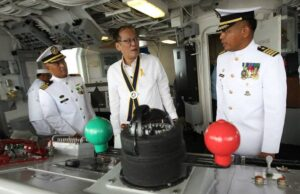 President Benigno S. Aquino III, accompanied by Philippine Nay (PN) Flag Officer-in-Command (FOIC) Vice Admiral Jose Luis Alano, tour and inspect the facilities of the BRP Ramon Alcaraz (PF16) during the arrival ceremony at the Alava Pier, Subic Freeport Zone in Olongapo City, Zambales on Tuesday (August 06, 2013). (MNS photo)