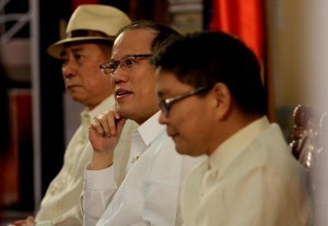 "President Benigno Aquino III grace the ceremony of the Pambansang Kongreso ng Wika at the Leong hall,Ateneo de Manila University(ADMU) in katipunan ave. q.c. with Theme ""WIKA NATIN ANG DAAN MATUWID  with Fr. Jose Ramon Villarin ADMU Pres. And Virgilio Almario Chairman of KWF ….  (MNS Photo)"