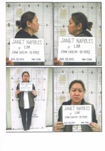 The Philippine National Police on Thursday, August 29, released the mug shots of Janet Lim-Napoles at Camp Crame following her surrender to President Aquino on Wednesday night, August 28. Napoles's surrender came hours after the President offered a P10M reward to anyone who could give information that will lead to her arrest. (MNS)