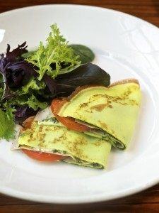 Parsley Crêpes with Ham, Pesto, Ricotta and Summer Tomatoes