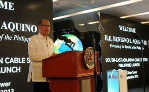 "President Benigno S. Aquino III delivers his message during the Globe Southeast Asia-Japan (SJC) Submarine Cable System launching ceremony at The Globe Tower, 7th Avenue corner 32nd Street in Taguig City on Friday (September 27). With the theme: ""Explore the World on a String"". Among the main beneficiaries of the Globe-SJC interconnection will be the local business process outsourcing and the outsourcing-off shore sectors, currently regarded as the ""sunshine industries"" in the country. (MNS photo)"