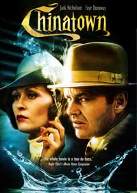 CHINATOWN Movie Poster. Chinatown, the classic 1974 neo-noir film about the rise of Los Angeles by way of the importation of water starring John Huston, Jack Nicholson, and Faye Dunaway.(www.nhm.org)