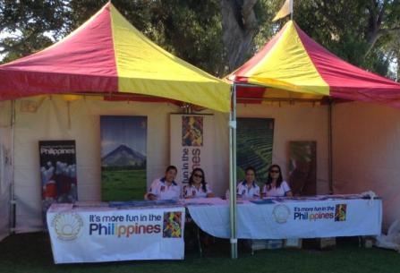 os above show the combined booth of the Philippine Consulate General and the Philippine Department of  Tourism Los Angeles. Visitors to the booth registered their interest to join next year's Ambassadors, Consul  Generals and Tourism Directors Tour (ACGTDT).
