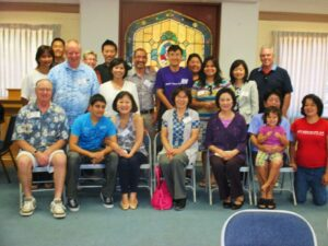 "SGV API PFLAG ""family photo"" taken at our new gathering place, Sage Granada Park UMC, on Aug. 25, 2013. (photo courtesy of PFLAG - San Gabriel Valley Asian Pacific Islander Facebook page)"