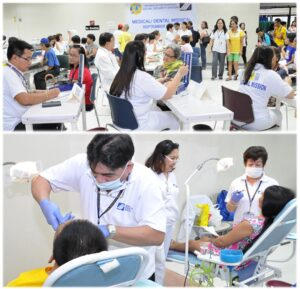 The attendees benefited from various services such as medical consultations and blood pressure check ups (top photo) as well as dental consultations and tooth extractions (bottom photo).