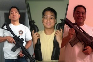 Gun smugglers: From left Rex Maralit, a New York Police Department officer; Ariel Maralit based in the Philippines, and Wilfredo Maralit, a Customs and Border Patrol agent assigned at Los Angeles International Airport.