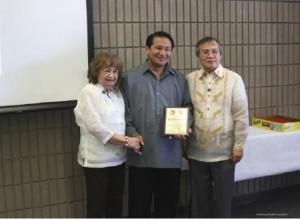 Photo above shows (L-R) Dr. Ludy Ongkeko, Deputy Consul General Daniel Espiritu with a plaque of appreciation from JPRMM President Chito Mandap